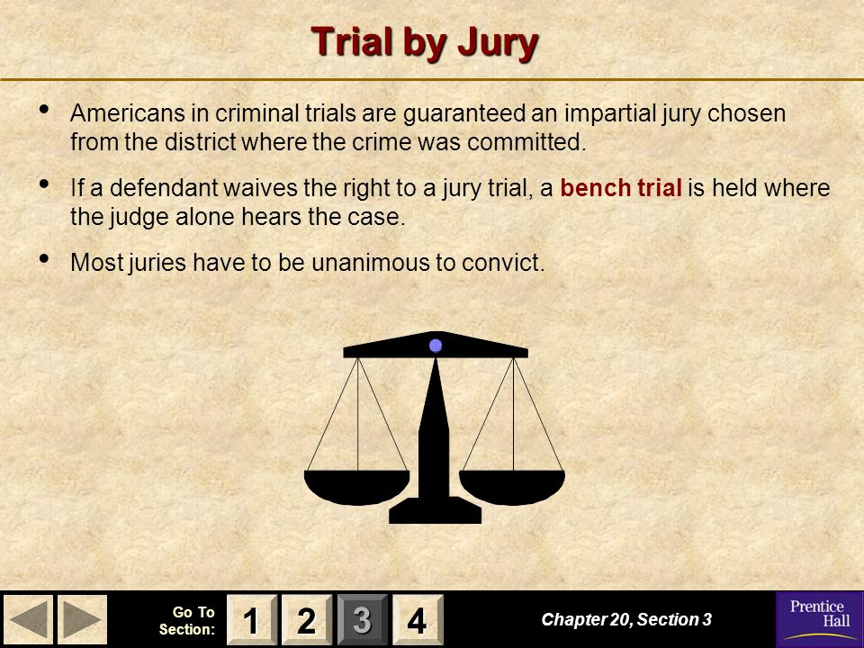 123 Go To Section: 4 Trial by Jury Americans in criminal trials are guaranteed an impartial jury chosen from the district where the crime was committe