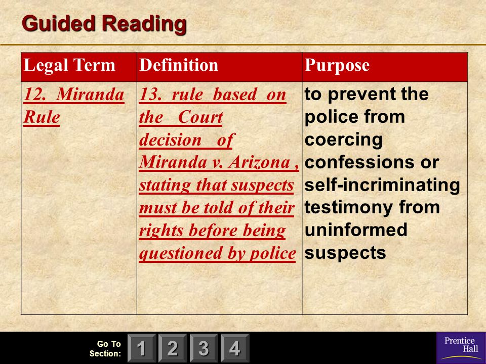 123 Go To Section: 4 Guided Reading Legal TermDefinitionPurpose 12. Miranda Rule 13. rule based on the Court decision of Miranda v. Arizona, stating t