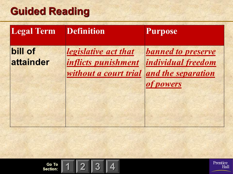 123 Go To Section: 4 Guided Reading Legal TermDefinitionPurpose bill of attainder legislative act that inflicts punishment without a court trial banne