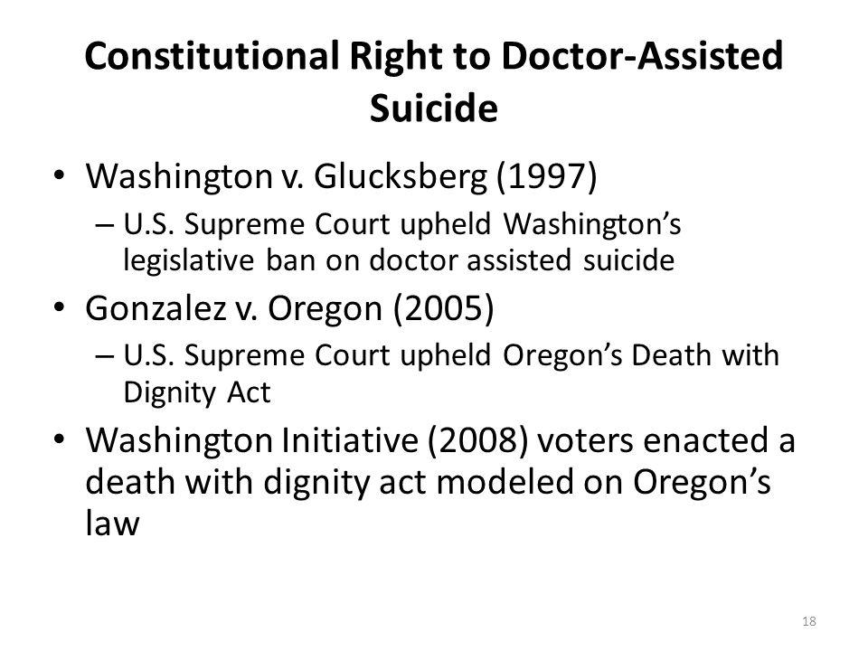 Constitutional Right to Doctor-Assisted Suicide Washington v. Glucksberg (1997) – U.S. Supreme Court upheld Washington's legislative ban on doctor ass