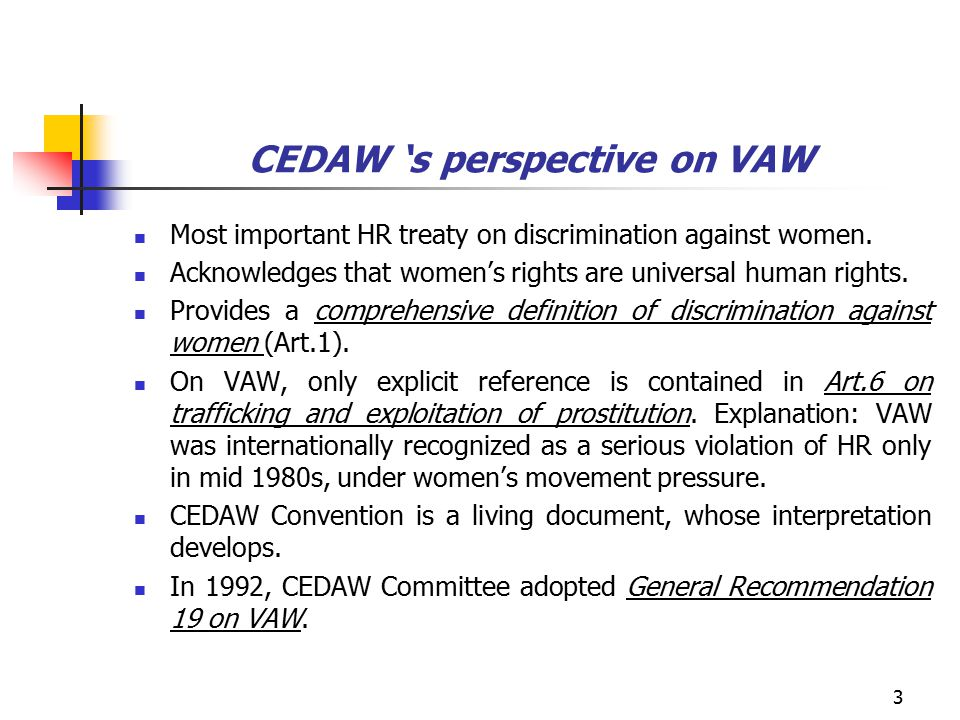 3 CEDAW 's perspective on VAW Most important HR treaty on discrimination against women.