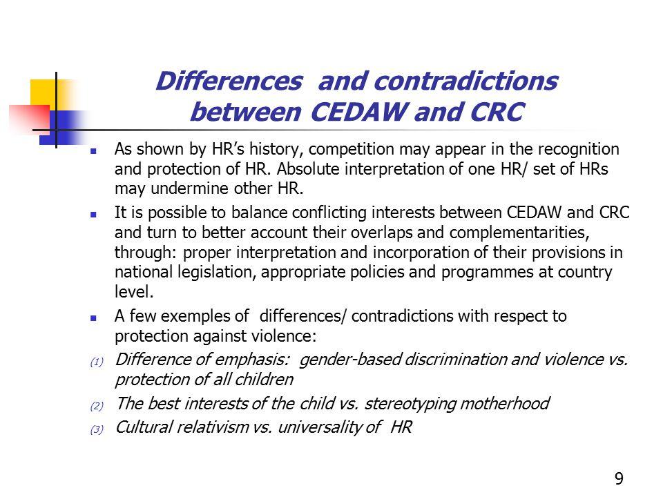 (1) Difference of emphasis: gender-based discrimination and violence vs.