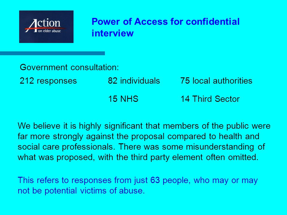 Power of Access for confidential interview Reasonable cause to suspect a person is at risk of abuse or neglect.