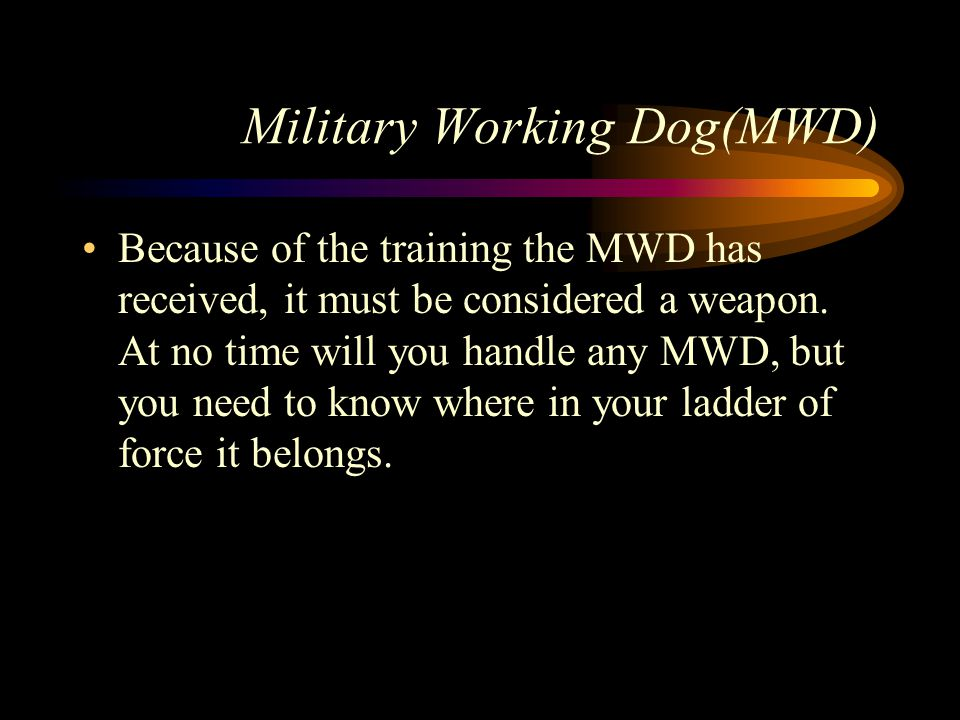 Military Working Dog(MWD) Because of the training the MWD has received, it must be considered a weapon.