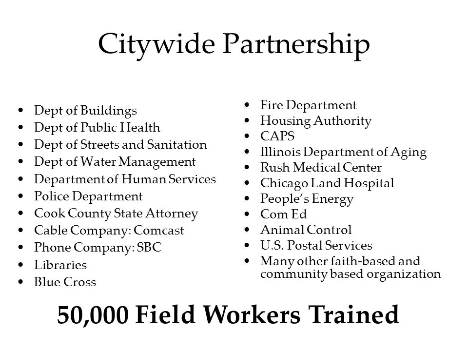 Citywide Partnership Dept of Buildings Dept of Public Health Dept of Streets and Sanitation Dept of Water Management Department of Human Services Police Department Cook County State Attorney Cable Company: Comcast Phone Company: SBC Libraries Blue Cross Fire Department Housing Authority CAPS Illinois Department of Aging Rush Medical Center Chicago Land Hospital People's Energy Com Ed Animal Control U.S.