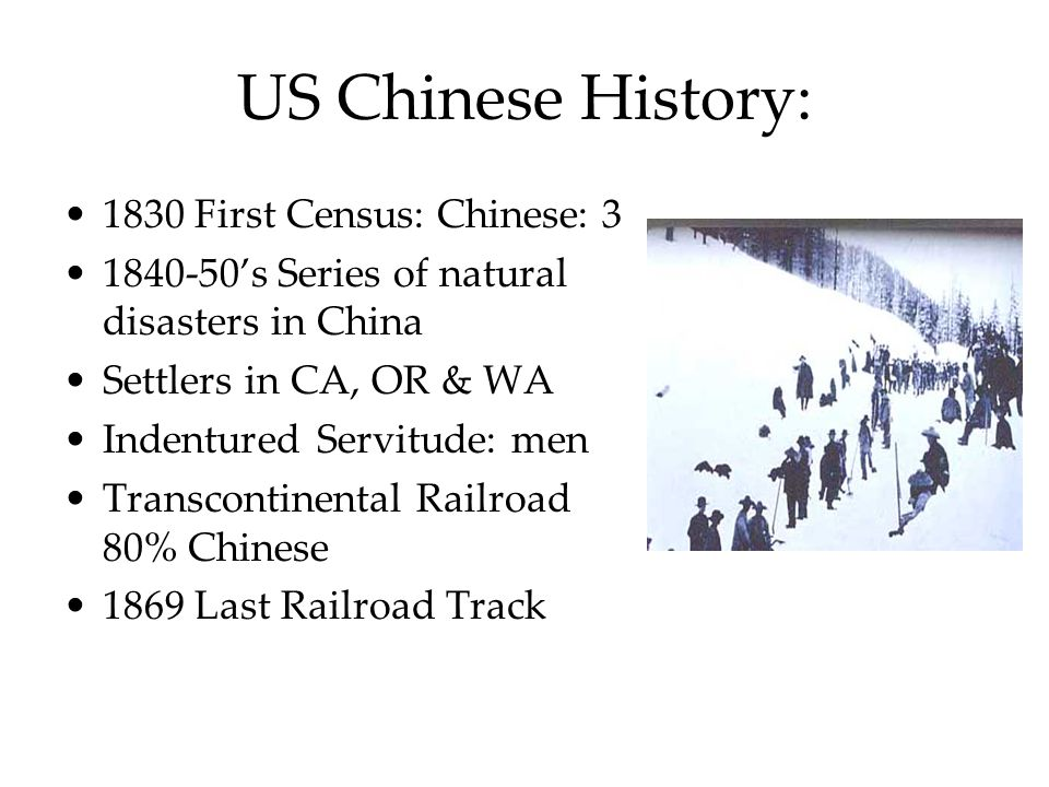US Chinese History: 1830 First Census: Chinese: 3 1840-50's Series of natural disasters in China Settlers in CA, OR & WA Indentured Servitude: men Tra