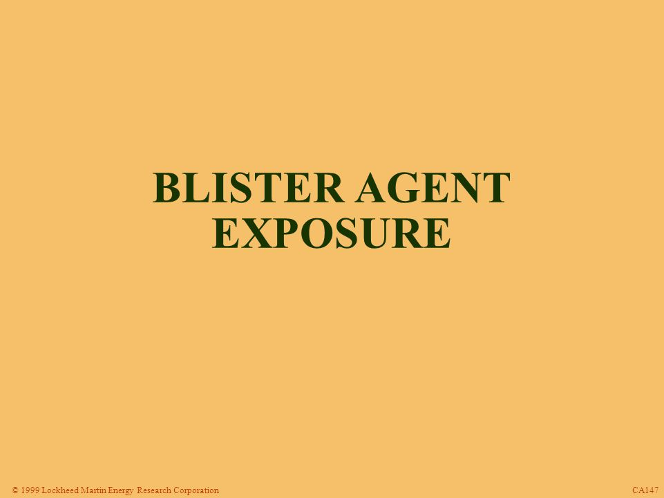 © 1999 Lockheed Martin Energy Research Corporation SIGNS AND SYMPTOMS OF SULFUR MUSTARD EXPOSURE Eye Irritation/Inflammation Photophobia Reddening of Exposed Skin Blisters Inflammation of Respiratory Tract Gastrointestinal Effects Systemic Effects CA158