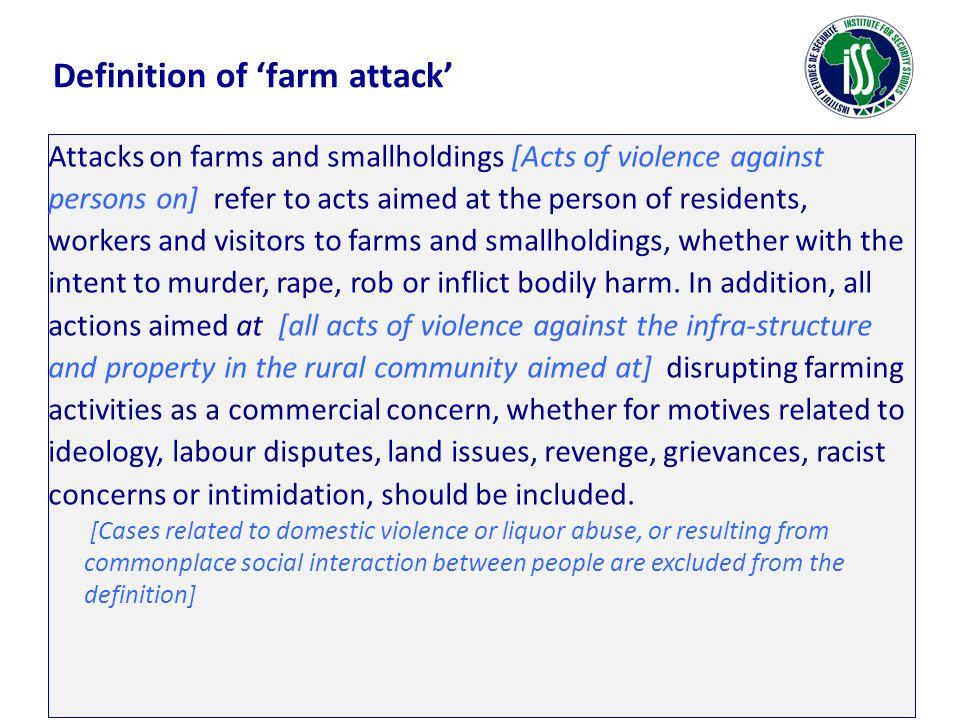 Farm attacks & farm murders 2001/02 – 2006/07 (SAPS Annual Report) Six year total: 4 869 Fifteen year total: 10 991 Twenty one year total: 11 719 Six year total: 587 Fifteen year total: 1 841 Twenty one year total: 2 207 24,8%