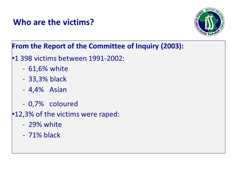 Who are the victims? From the Report of the Committee of Inquiry (2003): 1 398 victims between 1991-2002: - 61,6% white - 33,3% black - 4,4% Asian - 0