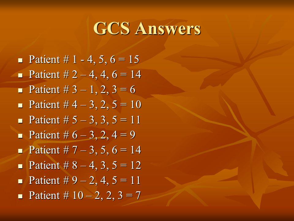 GCS Answers Patient # 1 - 4, 5, 6 = 15 Patient # 1 - 4, 5, 6 = 15 Patient # 2 – 4, 4, 6 = 14 Patient # 2 – 4, 4, 6 = 14 Patient # 3 – 1, 2, 3 = 6 Patient # 3 – 1, 2, 3 = 6 Patient # 4 – 3, 2, 5 = 10 Patient # 4 – 3, 2, 5 = 10 Patient # 5 – 3, 3, 5 = 11 Patient # 5 – 3, 3, 5 = 11 Patient # 6 – 3, 2, 4 = 9 Patient # 6 – 3, 2, 4 = 9 Patient # 7 – 3, 5, 6 = 14 Patient # 7 – 3, 5, 6 = 14 Patient # 8 – 4, 3, 5 = 12 Patient # 8 – 4, 3, 5 = 12 Patient # 9 – 2, 4, 5 = 11 Patient # 9 – 2, 4, 5 = 11 Patient # 10 – 2, 2, 3 = 7 Patient # 10 – 2, 2, 3 = 7