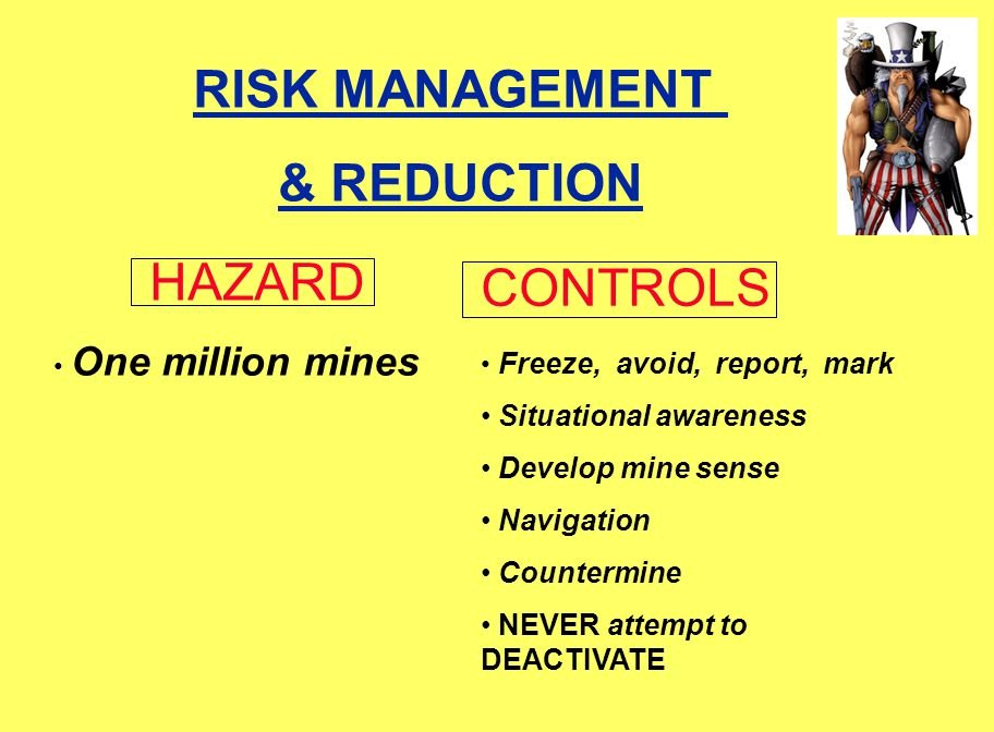 RISK MANAGEMENT & REDUCTION One million mines Freeze, avoid, report, mark Situational awareness Develop mine sense Navigation Countermine NEVER attempt to DEACTIVATE CONTROLS HAZARD