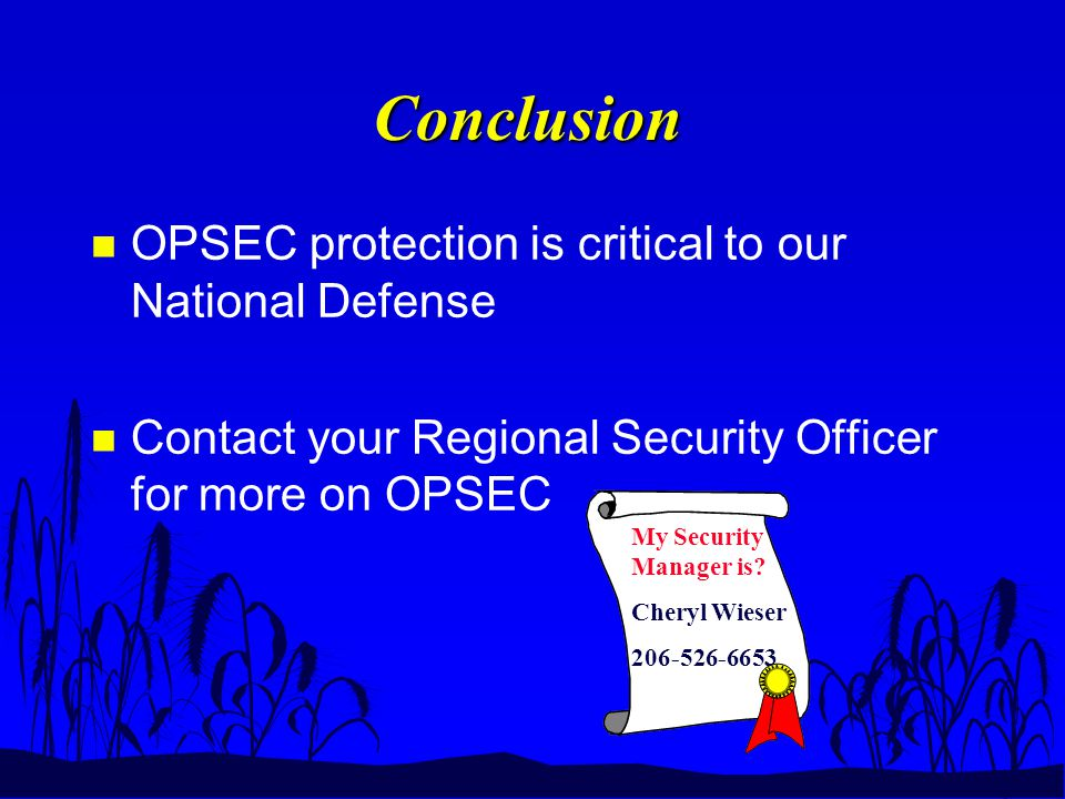 Conclusion n OPSEC protection is critical to our National Defense n Contact your Regional Security Officer for more on OPSEC My Security Manager is.