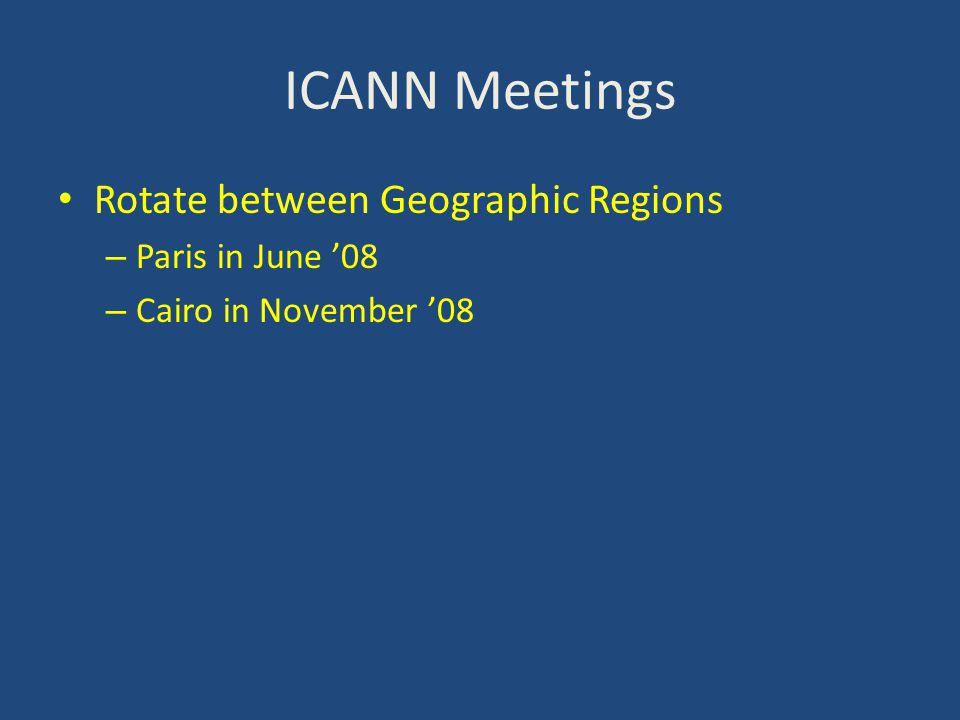 ICANN Meetings Rotate between Geographic Regions – Paris in June '08 – Cairo in November '08