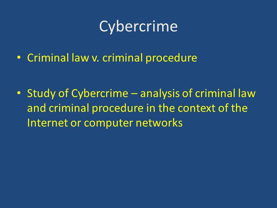 Cybercrime Criminal law v.