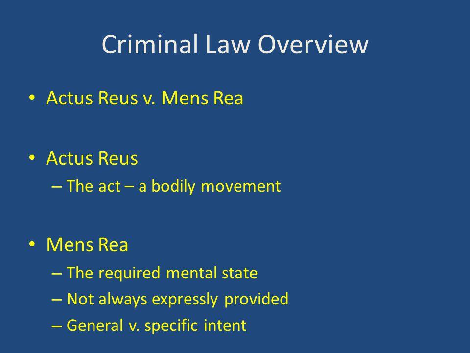Criminal Law Overview Actus Reus v.
