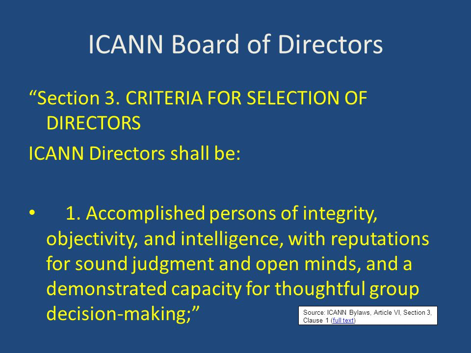 ICANN Board of Directors Section 3.