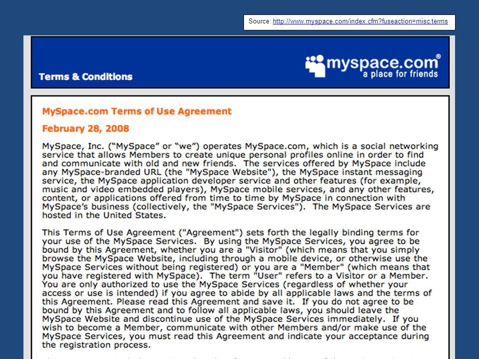 MySpace TOS Source: http://www.myspace.com/index.cfm?fuseaction=misc.termshttp://www.myspace.com/index.cfm?fuseaction=misc.terms
