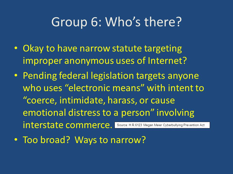 Group 6: Who's there. Okay to have narrow statute targeting improper anonymous uses of Internet.