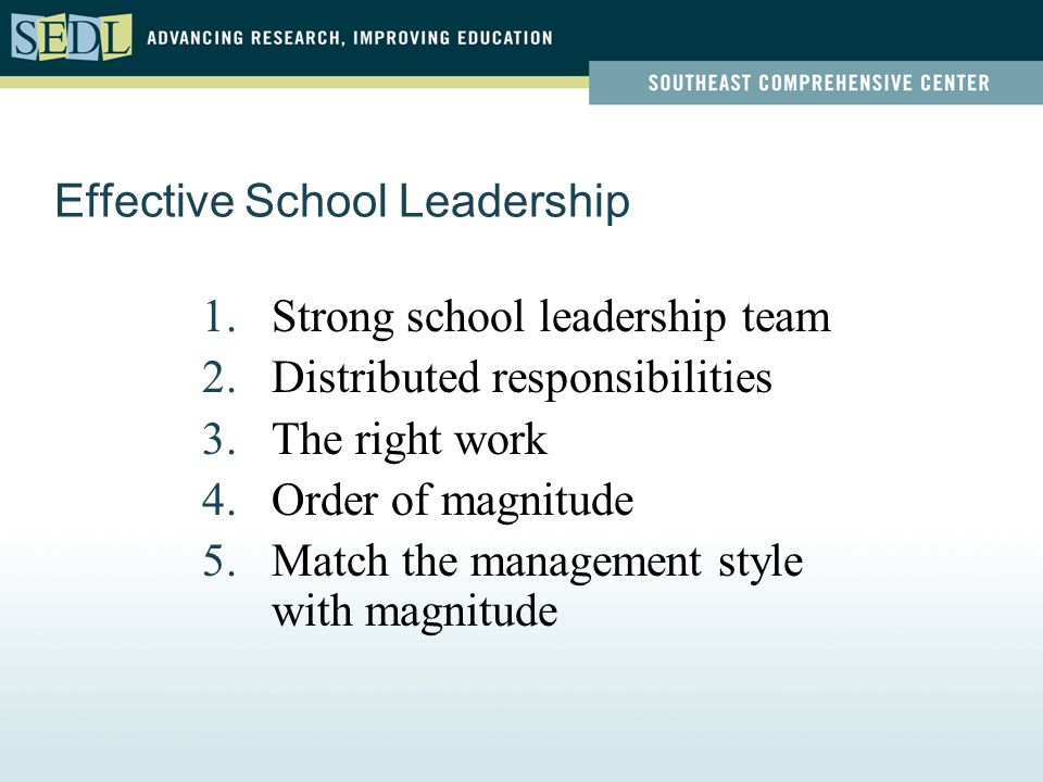 Effective School Leadership 1.Strong school leadership team 2.Distributed responsibilities 3.The right work 4.Order of magnitude 5.Match the management style with magnitude