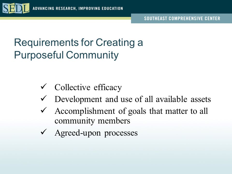 Requirements for Creating a Purposeful Community Collective efficacy Development and use of all available assets Accomplishment of goals that matter to all community members Agreed-upon processes