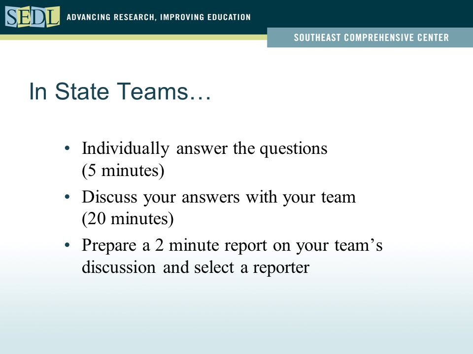 In State Teams… Individually answer the questions (5 minutes) Discuss your answers with your team (20 minutes) Prepare a 2 minute report on your team's discussion and select a reporter