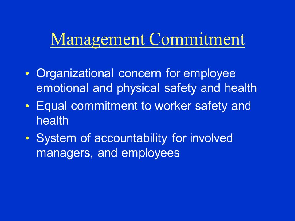 Management Commitment Organizational concern for employee emotional and physical safety and health Equal commitment to worker safety and health System of accountability for involved managers, and employees