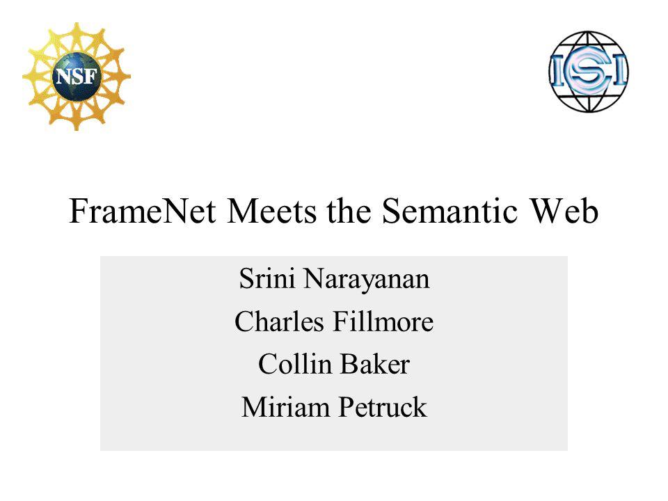 FrameNet Meets the Semantic Web Srini Narayanan Charles Fillmore Collin Baker Miriam Petruck