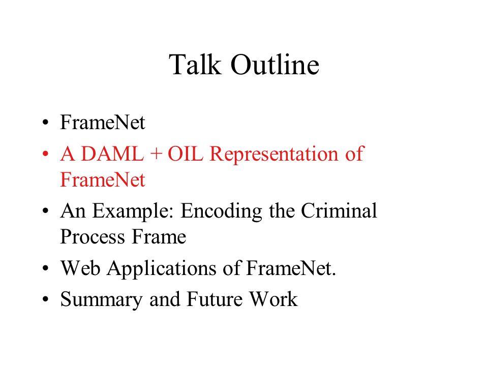 Talk Outline FrameNet A DAML + OIL Representation of FrameNet An Example: Encoding the Criminal Process Frame Web Applications of FrameNet. Summary an