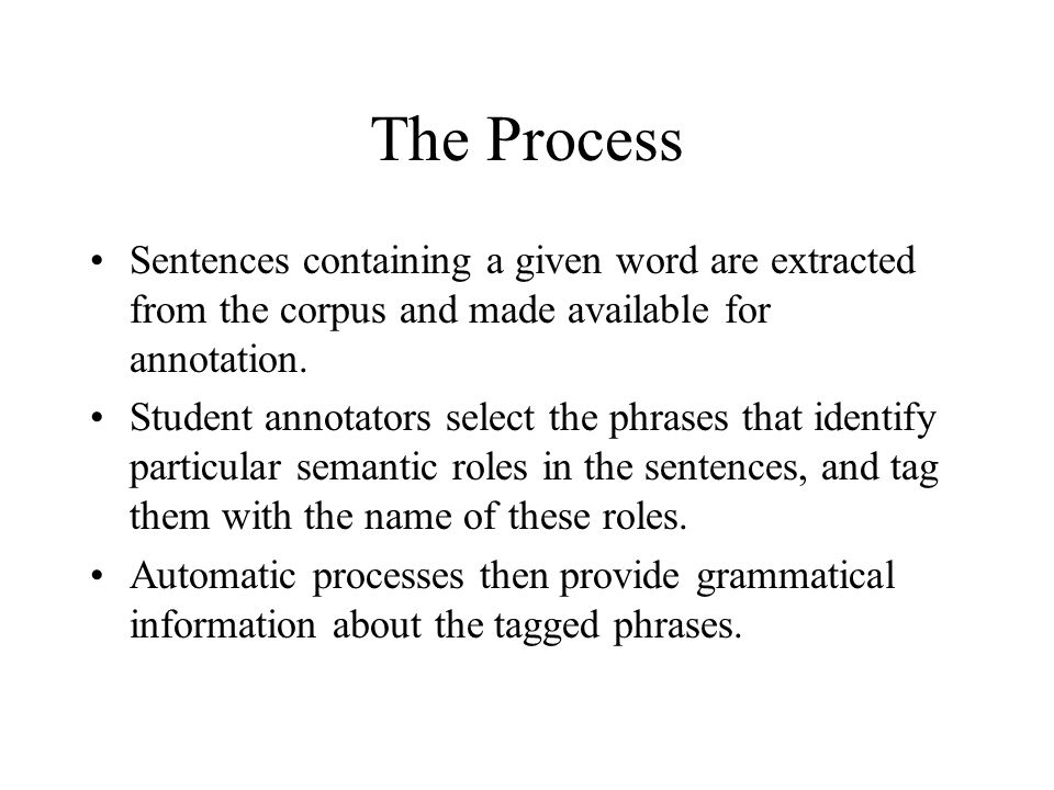 The Process Sentences containing a given word are extracted from the corpus and made available for annotation.