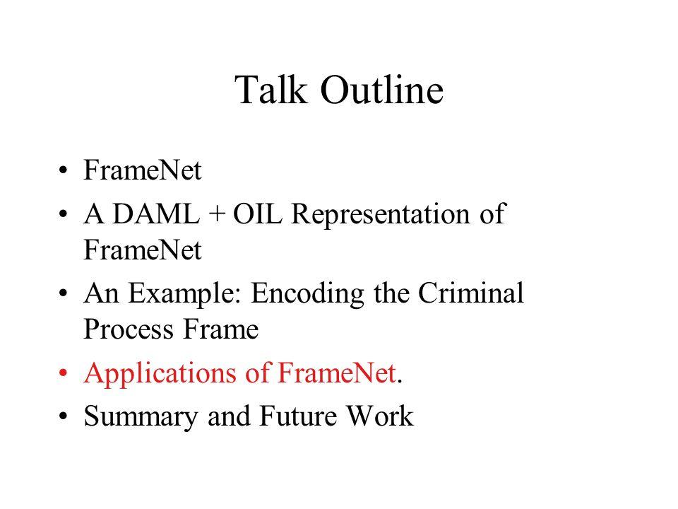 Talk Outline FrameNet A DAML + OIL Representation of FrameNet An Example: Encoding the Criminal Process Frame Applications of FrameNet. Summary and Fu