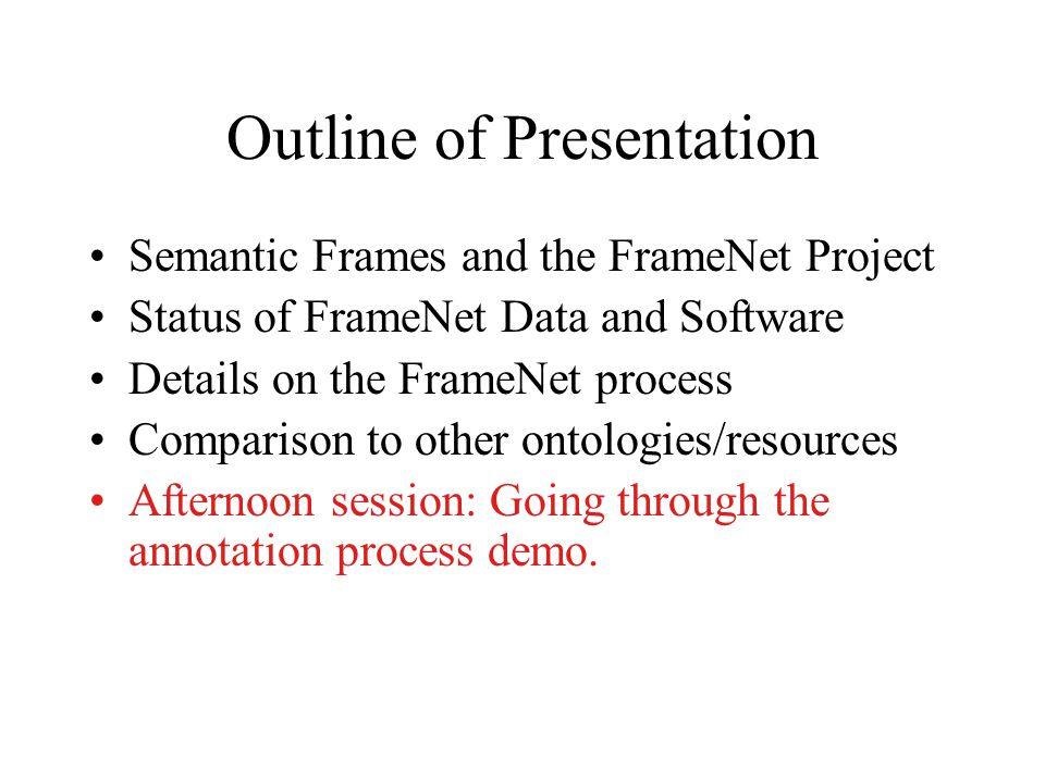 Talk Outline FrameNet A DAML + OIL Representation of FrameNet An Example: Encoding the Criminal Process Frame Web Applications of FrameNet.