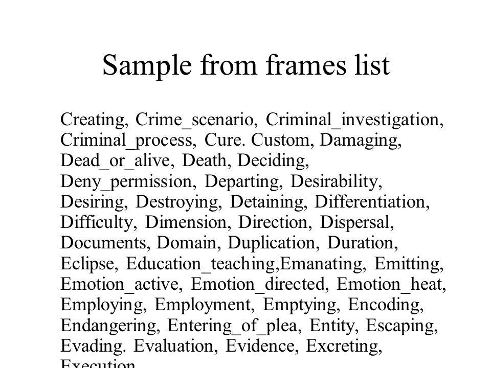 Sample from frames list Creating, Crime_scenario, Criminal_investigation, Criminal_process, Cure. Custom, Damaging, Dead_or_alive, Death, Deciding, De