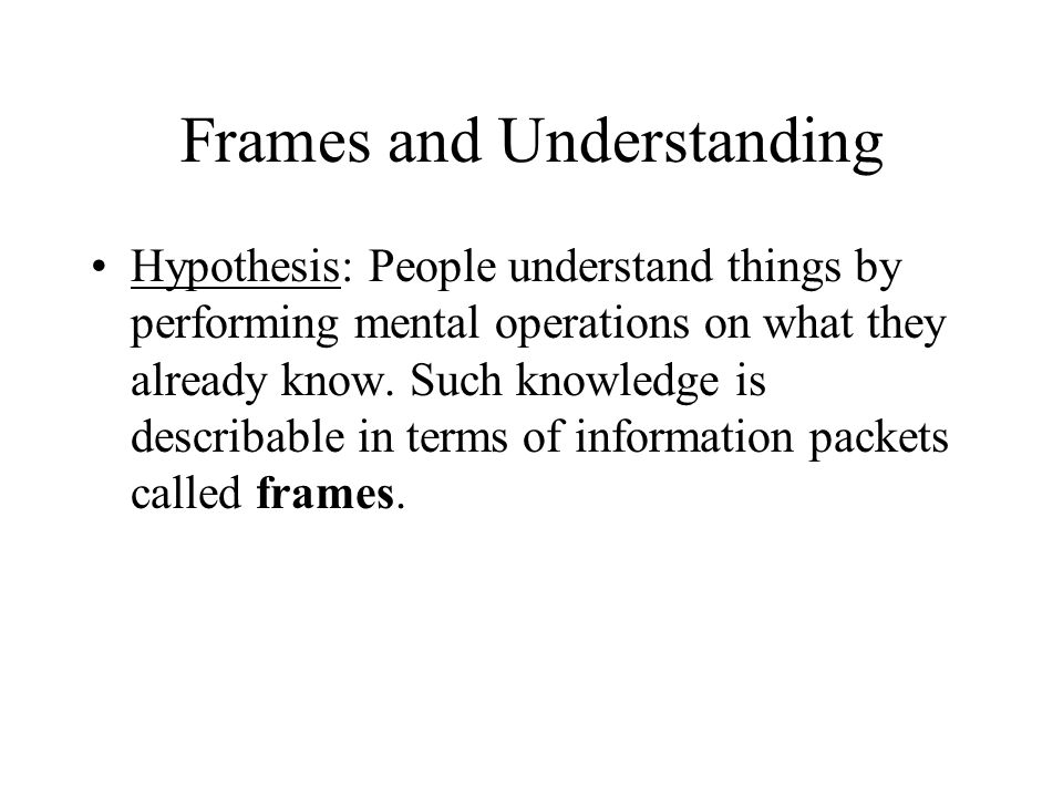 Frames and Understanding Hypothesis: People understand things by performing mental operations on what they already know.