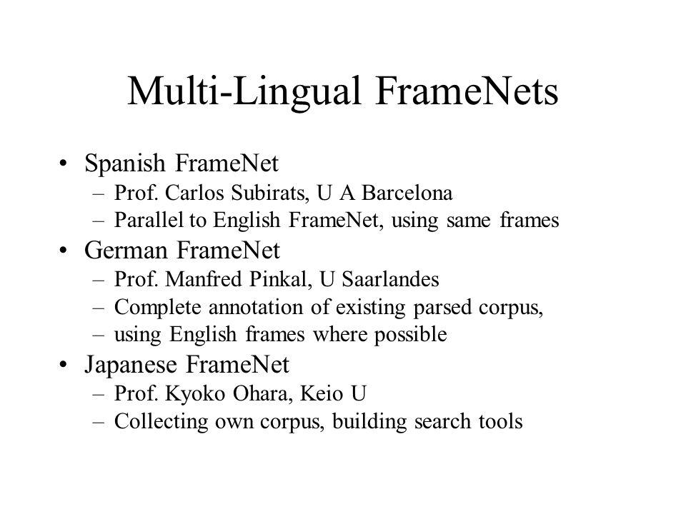 Multi-Lingual FrameNets Spanish FrameNet –Prof. Carlos Subirats, U A Barcelona –Parallel to English FrameNet, using same frames German FrameNet –Prof.