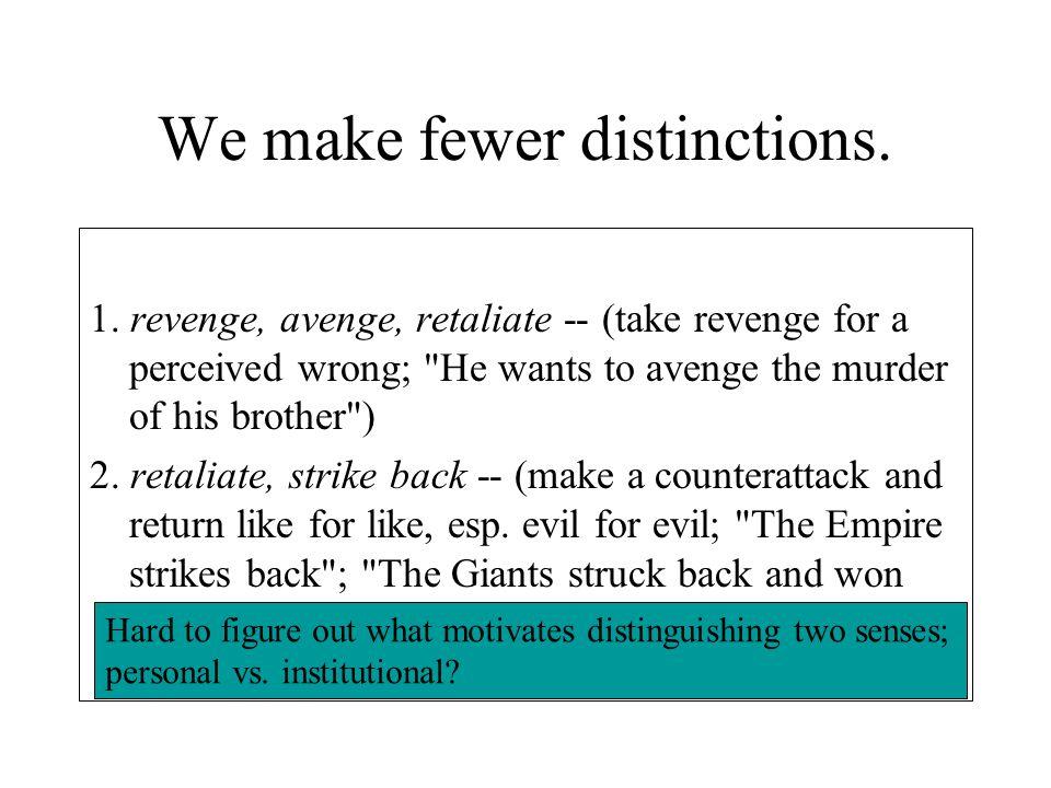 We make fewer distinctions. 1. revenge, avenge, retaliate -- (take revenge for a perceived wrong;