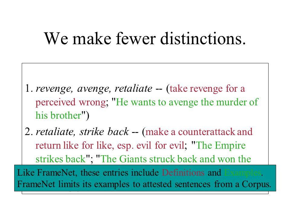 We make fewer distinctions. 1. revenge, avenge, retaliate -- ( take revenge for a perceived wrong ;