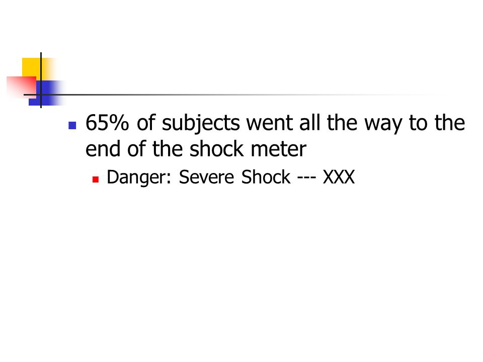 65% of subjects went all the way to the end of the shock meter Danger: Severe Shock --- XXX