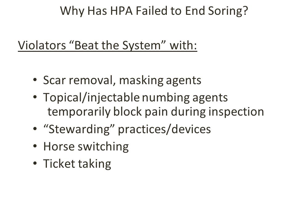 Why Has HPA Failed to End Soring.