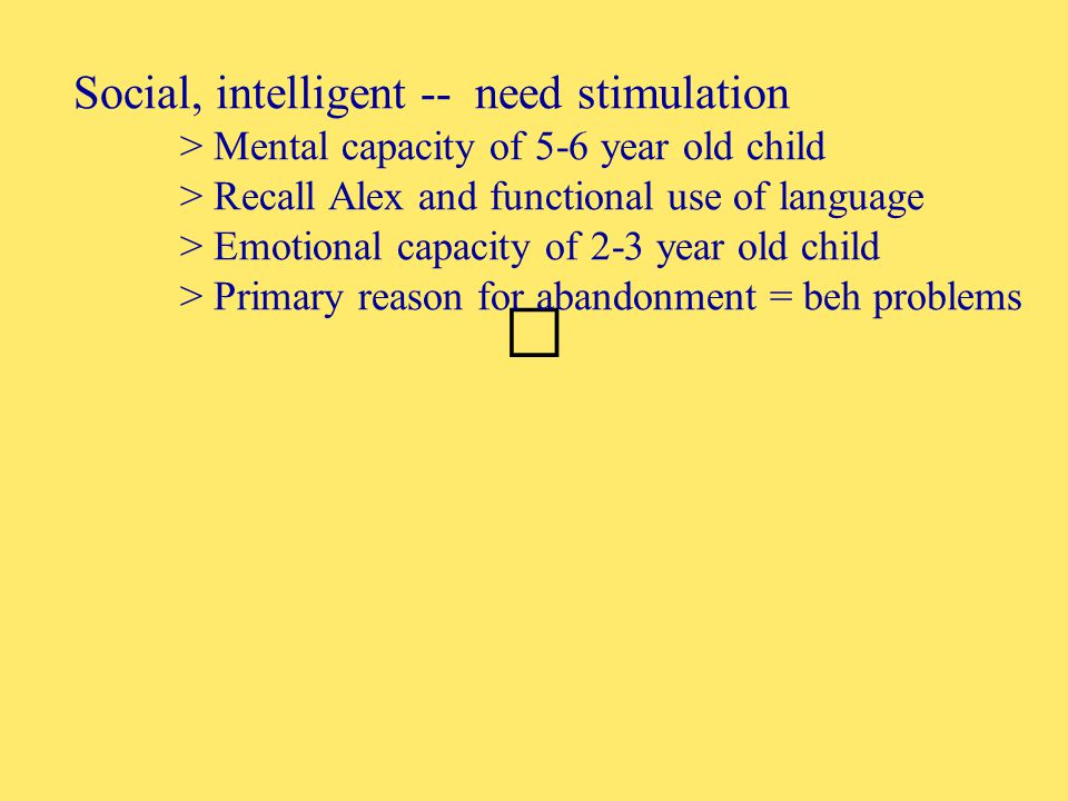 Social, intelligent -- need stimulation > Mental capacity of 5-6 year old child > Recall Alex and functional use of language > Emotional capacity of 2-3 year old child > Primary reason for abandonment = beh problems