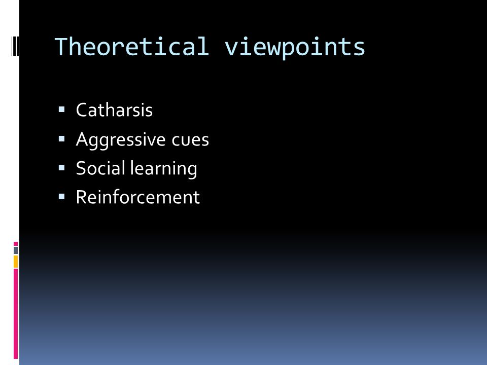 Theoretical viewpoints  Catharsis  Aggressive cues  Social learning  Reinforcement