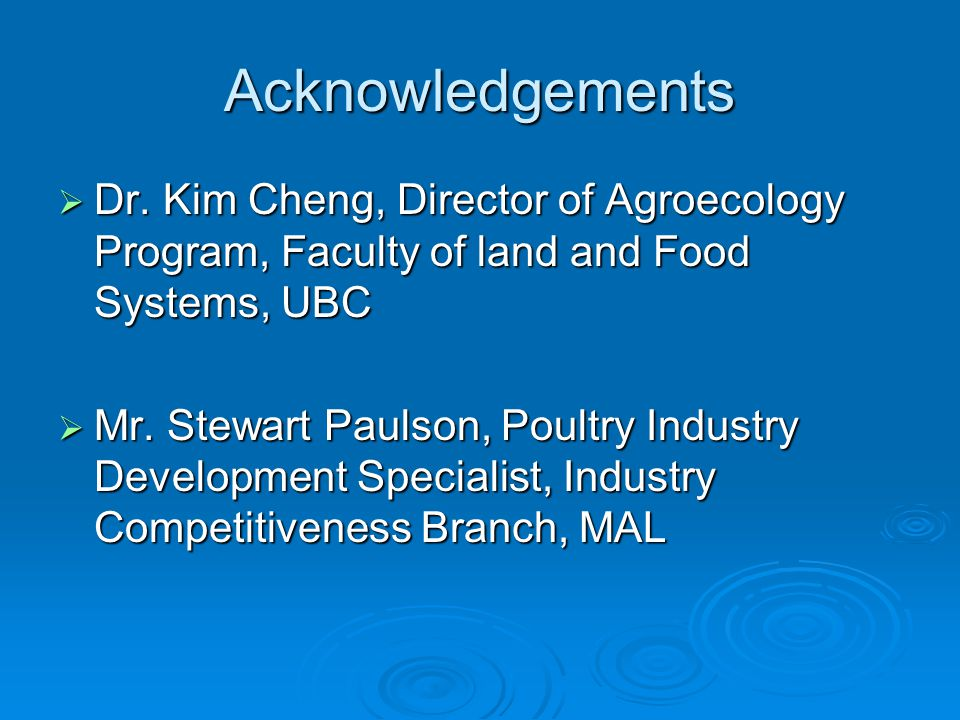 Acknowledgements  Dr.