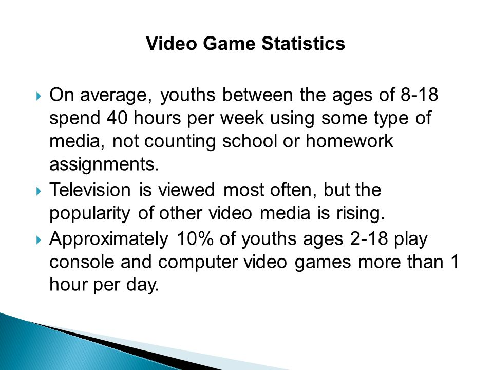  On average, youths between the ages of 8-18 spend 40 hours per week using some type of media, not counting school or homework assignments.  Televis