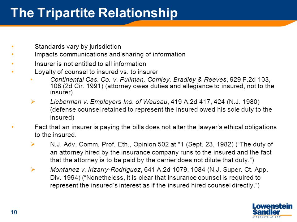 10 The Tripartite Relationship Standards vary by jurisdiction Impacts communications and sharing of information Insurer is not entitled to all information Loyalty of counsel to insured vs.
