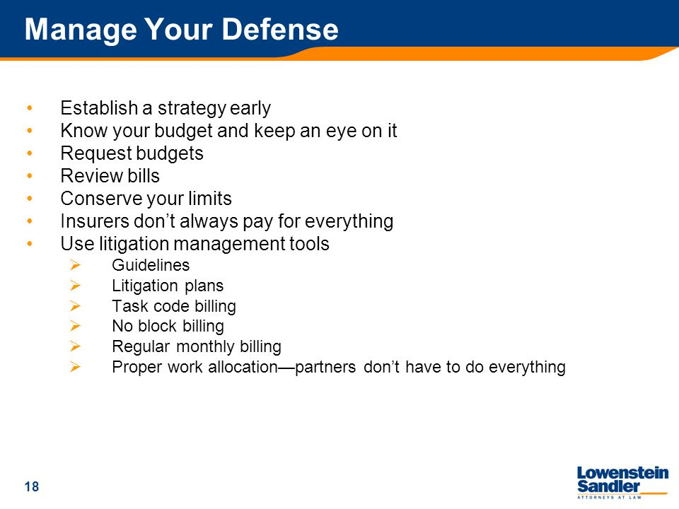 18 Manage Your Defense Establish a strategy early Know your budget and keep an eye on it Request budgets Review bills Conserve your limits Insurers don't always pay for everything Use litigation management tools  Guidelines  Litigation plans  Task code billing  No block billing  Regular monthly billing  Proper work allocation—partners don't have to do everything