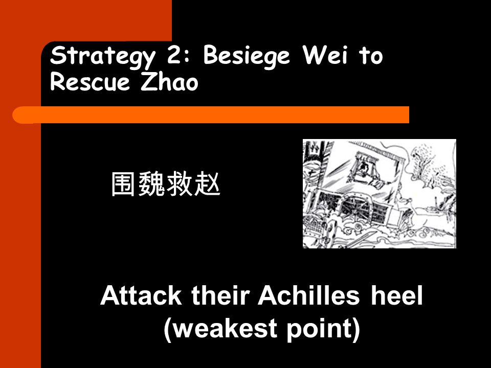 Strategy 2: Besiege Wei to Rescue Zhao 围魏救赵 Attack their Achilles heel (weakest point)