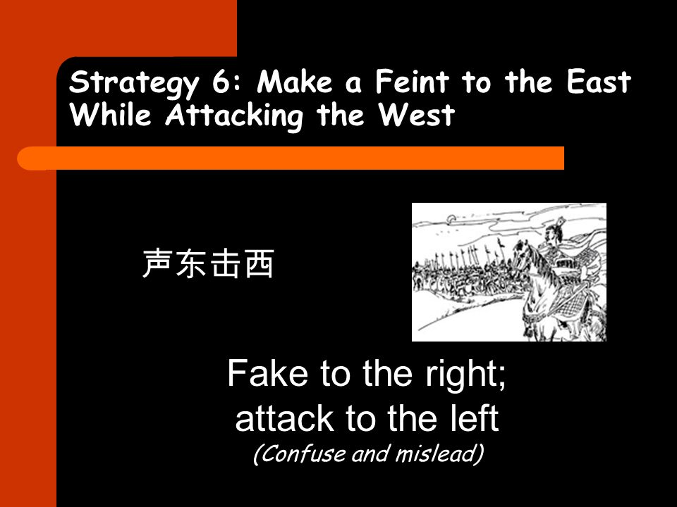 Strategy 6: Make a Feint to the East While Attacking the West 声东击西 Fake to the right; attack to the left (Confuse and mislead)