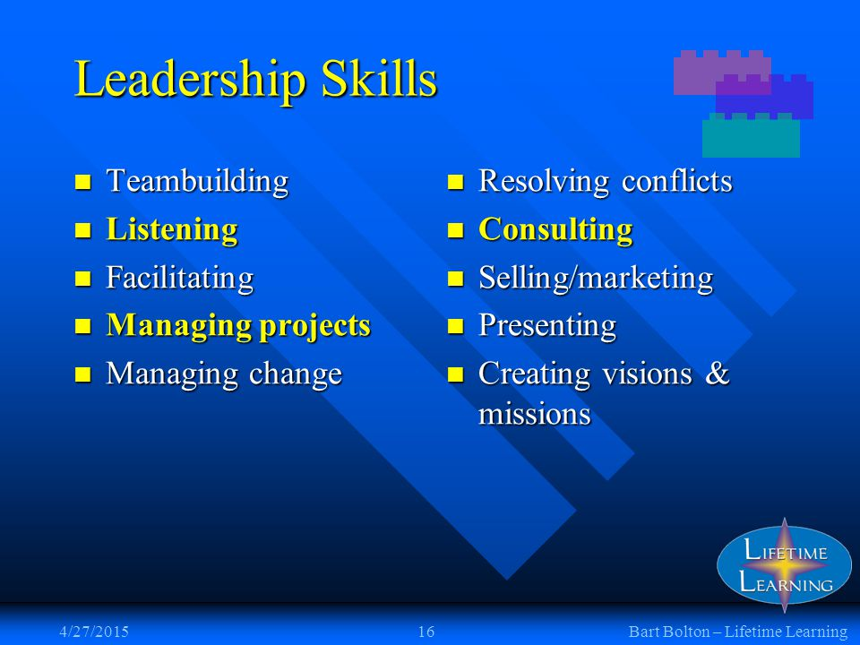 4/27/201516Bart Bolton – Lifetime Learning Leadership Skills Teambuilding Teambuilding Listening Listening Facilitating Facilitating Managing projects Managing projects Managing change Managing change Resolving conflicts Consulting Selling/marketing Presenting Creating visions & missions