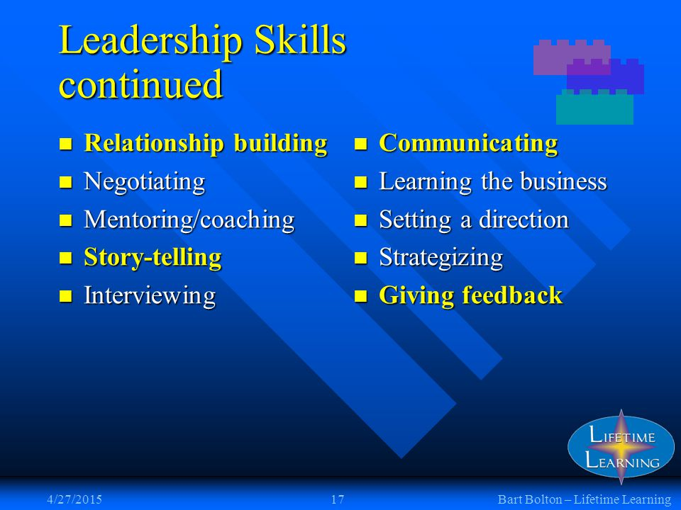 4/27/201517Bart Bolton – Lifetime Learning Leadership Skills continued Relationship building Relationship building Negotiating Negotiating Mentoring/coaching Mentoring/coaching Story-telling Story-telling Interviewing Interviewing Communicating Learning the business Setting a direction Strategizing Giving feedback