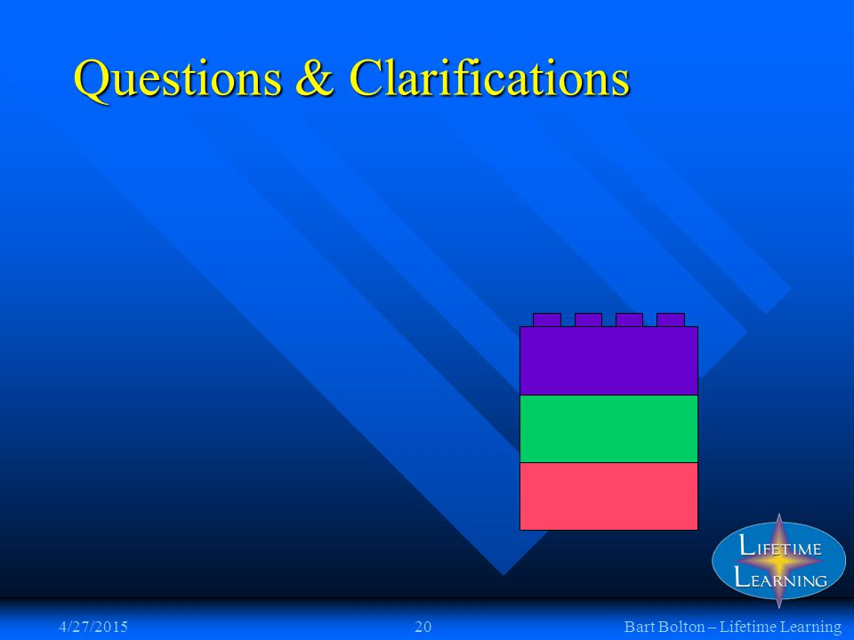 4/27/201520Bart Bolton – Lifetime Learning Questions & Clarifications