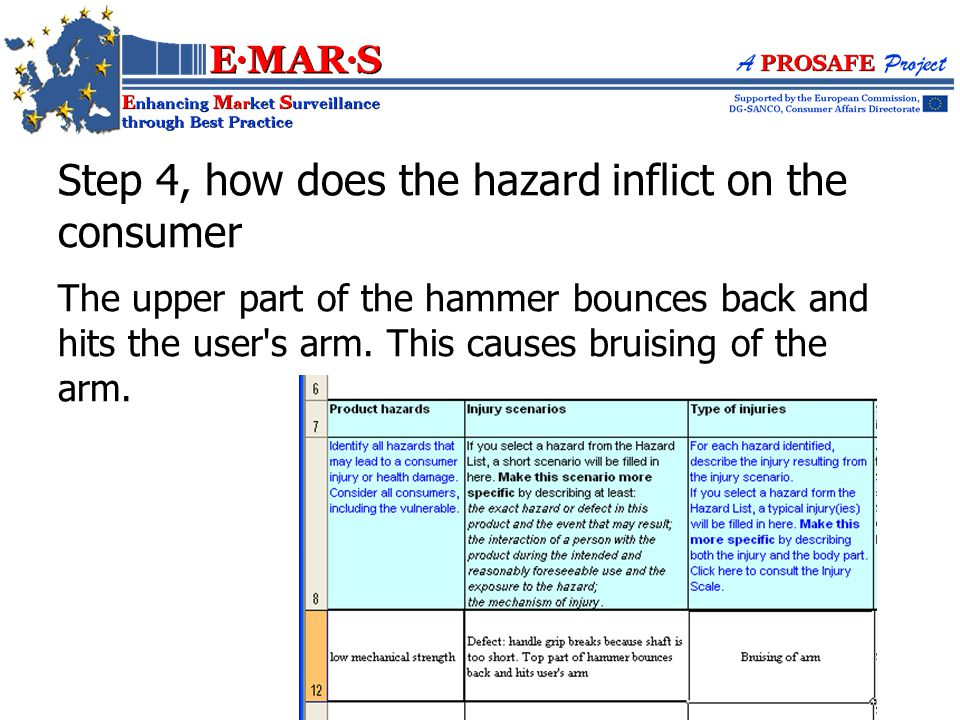 The upper part of the hammer bounces back and hits the user s arm.